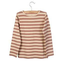 LITTLE HEDONIST LONGSLEEVE ELANA BLEACHED SAND STRIPED Rosa - Little Hedonist