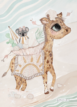 Beach Giraffe  Beach Giraffe - A5 - By Christine Hoel