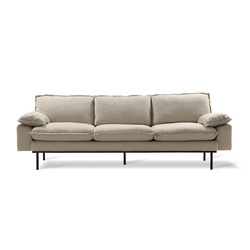 Sofa retro 4-seats cosy beige Beige - HK Living