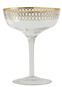 CIRCLE cocktail glass w. gold pattern glass med gull - Nordal