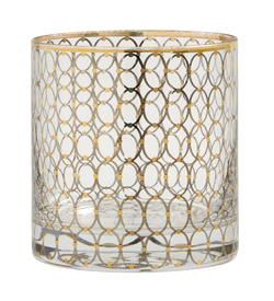 CIRCLE glass w. gold pattern glass med gull - Nordal