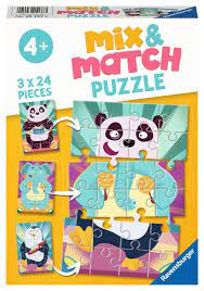 Ravensburger 3x24 Mix and Match Puzzle Animal Rock! - Ravensburger