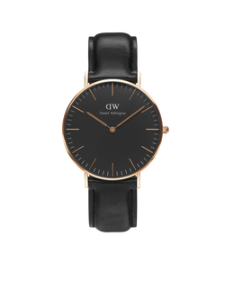 Classic Black Sheffield Lady, rosé Svart - Daniel Wellington