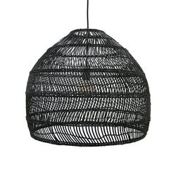 Wicker Hanging lamp ball M Svart - HK Living