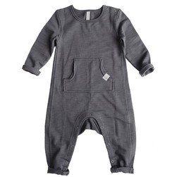 Oliver playsuit, fleece, By Heritage solid granite - By Heritage