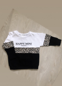 Happy Mini Colorblock Unisex Sweatshirt – White Leopard Hvit/sort/leo - Little Kingdom