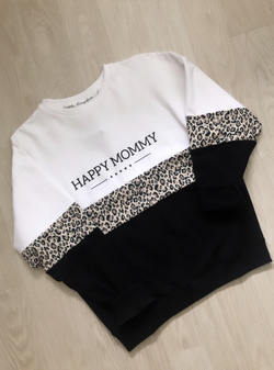 Happy Mommy Colorblock Sweatshirt – White Leopard Hvit/sort/leo - Little Kingdom